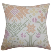 The Pillow Collection Dori Cross Stitch Cotton Throw Pillow Cover; 20'' x 20''