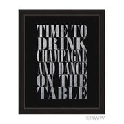 Click Wall Art Time to Drink Champagne Framed Textual Art in Silver; 27'' H x 23'' W x 1'' D
