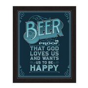 Click Wall Art Beer Is Proof That God Loves Us Framed Textual Art in Blue; 27'' H x 23'' W x 1'' D