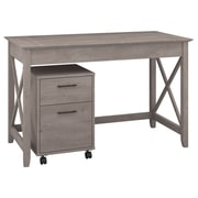 "Bush Furniture Key West 48""W Writing Desk with 2 Drawer Mobile Pedestal, Washed Gray (KWS001WG)"