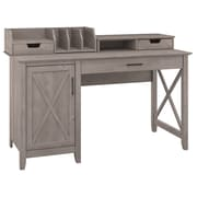 "Bush Furniture Key West 54""W Single Pedestal Desk with Desktop Organizers, Washed Gray (KWS010WG)"
