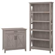 Bush Furniture Key West Laptop Storage Desk Credenza with 5 Shelf Bookcase, Washed Gray (KWS012WG)