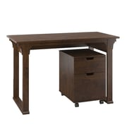 "Bush Furniture Mission Creek 48""W Writing Desk with 2 Drawer Mobile Pedestal, Antique Cherry (MCR001AN)"