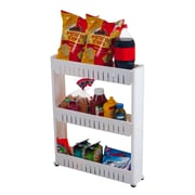 "5"" Wide Three Tier Slim Slide Out Pantry On Rollers Cart, White"