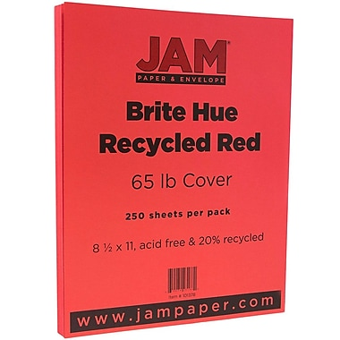 JAM Paper® Bright Colour Cardstock, 8.5 x 11, 65lb Red Recycled, 250/ream (101378B)
