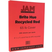 JAM Paper® Bright Color Cardstock, 8.5 x 11, 65lb Red Recycled, 250/ream (101378B)
