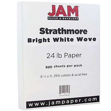 JAM Paper® Strathmore Paper, 8.5 x 11, 24lb Bright White Wove, 500/Pack (300220B)
