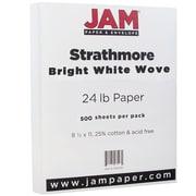 JAM Paper® Strathmore Paper, 8.5 x 11, 24lb Bright White Wove, 500/box (300220B)
