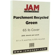 JAM Paper® Parchment Cardstock, 8.5 x 11, 65lb Green Recycled, 250/ream (27561B)