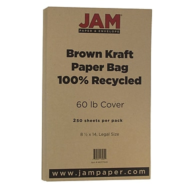JAM Paper® Matte Legal Cardstock, 8.5 x 14, 60lb Recycled Brown Kraft Paper Bag, 250/ream (463117509B)