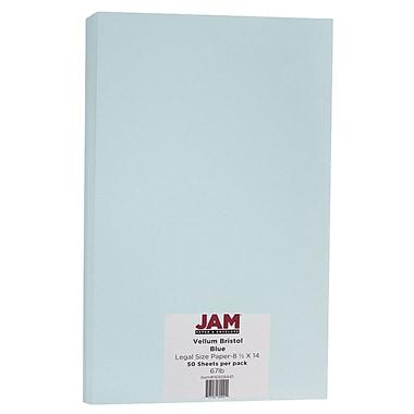 JAM Paper® Vellum Bristol Legal Cardstock, 8.5 x 14, 67lb Blue, 50/Pack (16928441)