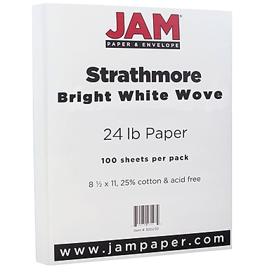 JAM Paper® Strathmore Paper, 8.5 x 11, 24lb Bright White Wove, 100/pack (300220)