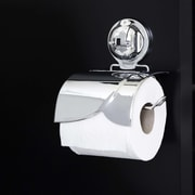 FECA Wall Mounted Toilet Paper Holder w/ Cover and Powerful Suction Cup; Chrome