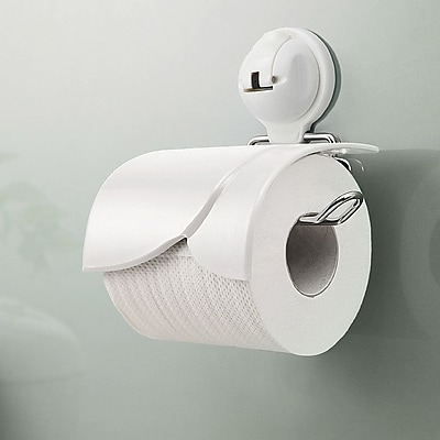 FECA Wall Mounted Toilet Paper Holder w/ Cover and Powerful Suction Cup; White WYF078279218077