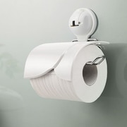 FECA Wall Mounted Toilet Paper Holder w/ Cover and Powerful Suction Cup; White