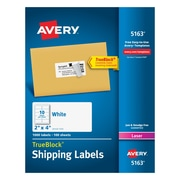"""Avery Laser Shipping Labels with TrueBlock™, 2"""" x 4"""", White, 1,000/Box (5163)"""