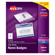 """Avery Top Loading Clip Style Name Tags, 3"""" x 4"""", 100/Pack"""