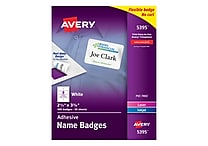 Avery Self-Adhesive Name Tag Labels White 2 1/3' x 3 3/8' 400/Pack