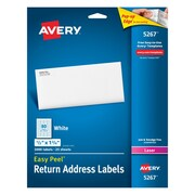 "Avery® 5267 White Laser Return Address Labels with Easy Peel®, 1/2"" x 1-3/4"", 2,000/Box (5267)"