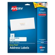 "Avery® 8161 White Inkjet Address Labels with Easy Peel®, 1"" x 4"", 500/Box"