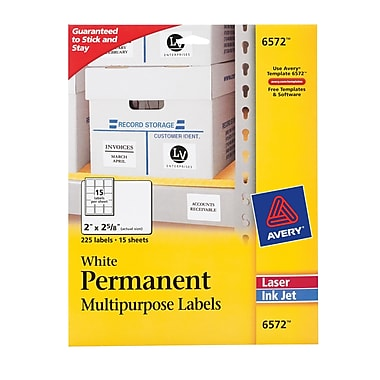 Avery ® 6572 White Permanent Durable ID Label With TrueBlock ® Technology, 2