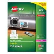 "Avery® Permanent Durable ID Labels, 1-1/4"" x 1-3/4"", Laser, White, 1,600/Pack (6576)"
