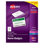"""Avery® 74549 Top-Loading Pin-Style Name Badges, 2 1/4"""" x 3 1/2"""", 100/Box"""