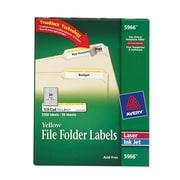 Avery® 5966 Yellow Permanent File Folder Labels with TrueBlock™, 1,500/Pack