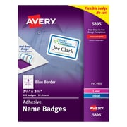 """Avery® Self-Adhesive Name Tag Labels, 2 1/3"""" x 3 3/8"""", White with Blue Border, 400/Pack"""