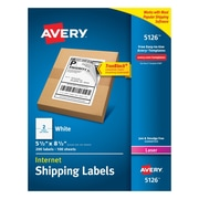 "Avery Laser Internet Shipping Labels with TrueBlock™, 5-1/2"" x 8-1/2"", White, 200/Box (5126)"