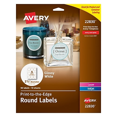 Avery® 22830 Print-to-the-Edge White Round Labels, Glossy, 2-1/2