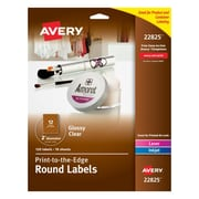 "Avery® 22825 Print-to-the-Edge Clear Round Labels, Glossy, 2"" Diameter, 120/Pack"