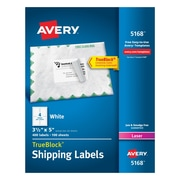 "Avery 3-1/2"" x 5"" Laser Shipping White Labels with TrueBlock™, 400/Box"