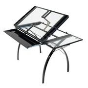 "Studio Designs™ 50.25"" Steel/Glass Futura Craft Station with Folding Shelf, Black/Clear (10097)"