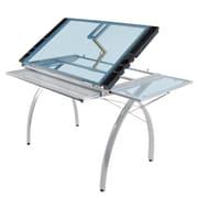 "Studio Designs™ 50.25"" Steel/Glass Futura Craft Station with Folding Shelf, Silver/Blue (10095)"