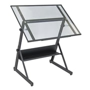 """Studio Designs™ 42"""" Glass Solano Adjustable Table, Charcoal/Clear (13346)"""