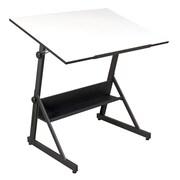 "Studio Designs™ 42"" Glass Solano Adjustable Table, Charcoal/White (13344)"