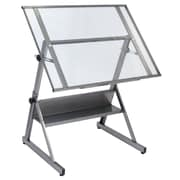 "Studio Designs™ 42"" Glass Solano Adjustable Table, Steel/Clear (13345)"