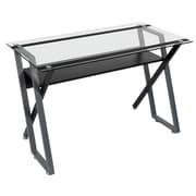 "Studio Designs™ 47"" Steel/Glass Colorado Desk, Black/Silver/Clear (50707)"