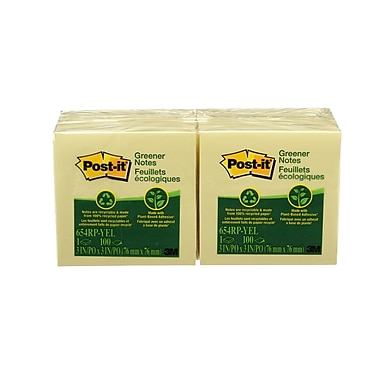 Post-it® Recycled Greener Canary Yellow Notes, 3'' x 3'', 12 Pads/Pack
