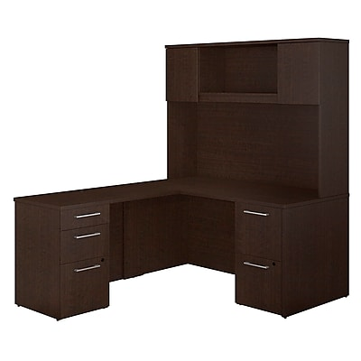 Bush Business Furniture Emerge 60 W x 30 D L Shaped Desk with Hutch and 2 Pedestals Mocha Cherry 300S103MR