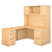 """Bush Business Furniture Emerge 60""""W x 30""""D L Shaped Desk with Hutch and 2 Pedestals, Natural Maple (300S103AC)"""