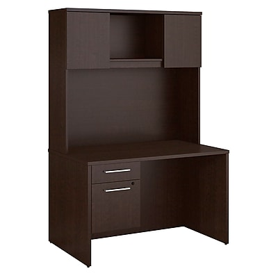 Bush Business Furniture Emerge 48 W x 30 D Desk with Hutch and 3 4 Pedestal Mocha Cherry 300S102MR