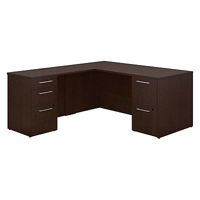 Bush Business Furniture Emerge 66 W x 30 D L Shaped Desk with 2 and 3 Drawer Pedestals Mocha Cherry 300S098MR