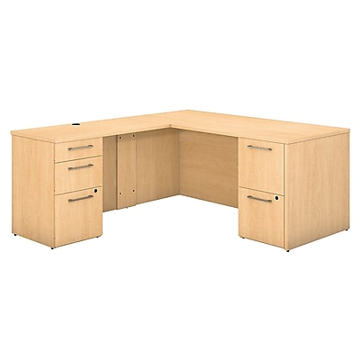 Bush Business Furniture Emerge 66 W x 30 D L Shaped Desk with 2 and 3 Drawer Pedestals Natural Maple 300S098AC