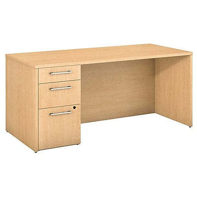 Bush Business Furniture Emerge 66 W x 30 D Desk with 3 Drawer Pedestal Natural Maple 300S097AC