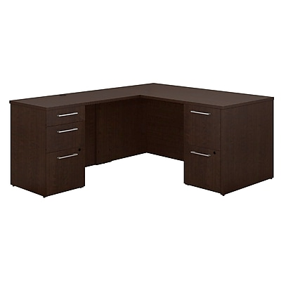 Bush Business Furniture Emerge 60 W x 30 D L Shaped Desk with 2 and 3 Drawer Pedestals Installed Mocha Cherry 300S096MRFA