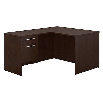 Bush Business Furniture Emerge 48 W x 30 D L Shaped Desk with 3 4 Pedestal Mocha Cherry 300S093MR