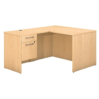 Bush Business Furniture Emerge 48 W x 30 D L Shaped Desk with 3 4 Pedestal Natural Maple 300S093AC