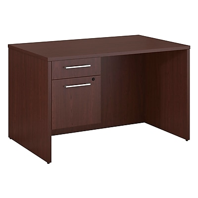 Bush Business Furniture Emerge 48 W x 30 D Desk with 3 4 Pedestal Harvest Cherry 300S092CS
